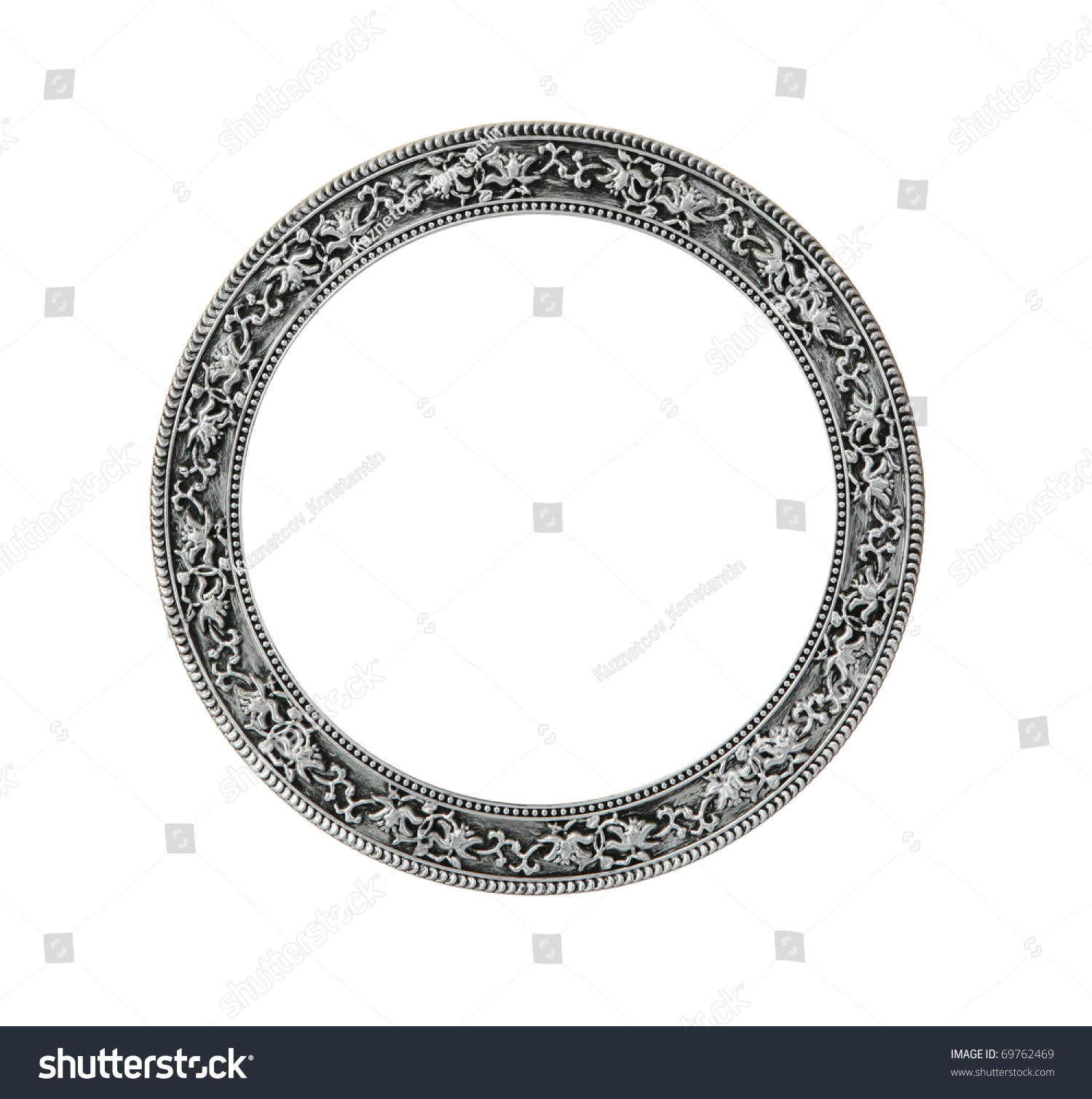 Antique Round Silver Frame With Clipping Stock Photo