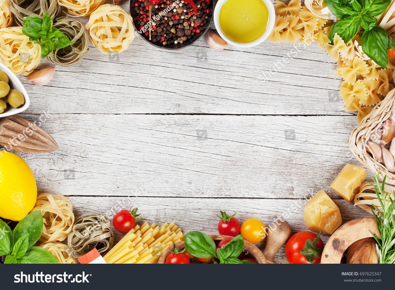 Italian Food Pasta Ingredients On Wooden Stock Photo (Edit Now ...
