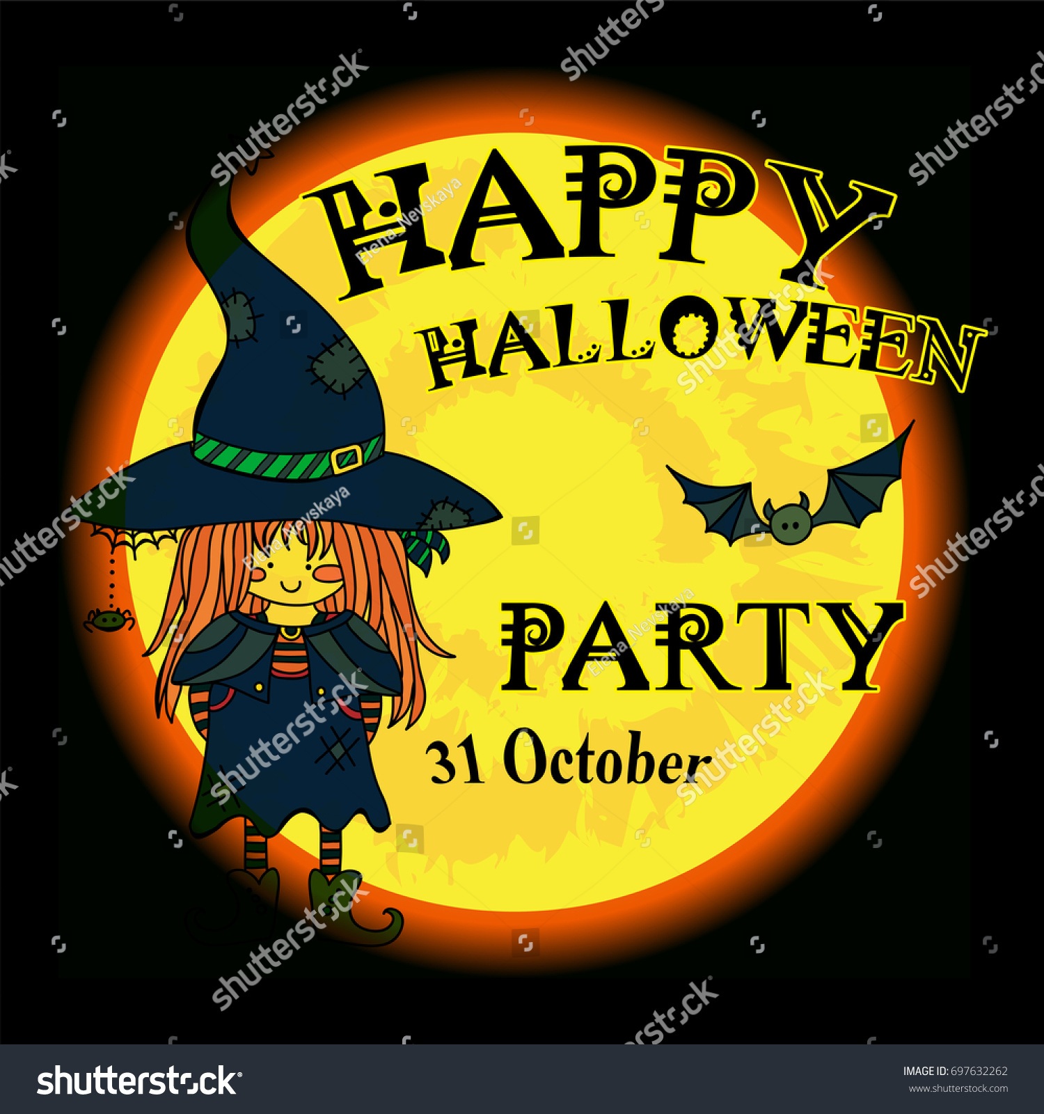 Vector Happy Halloween Party Invitation Card Stock Vector ...
