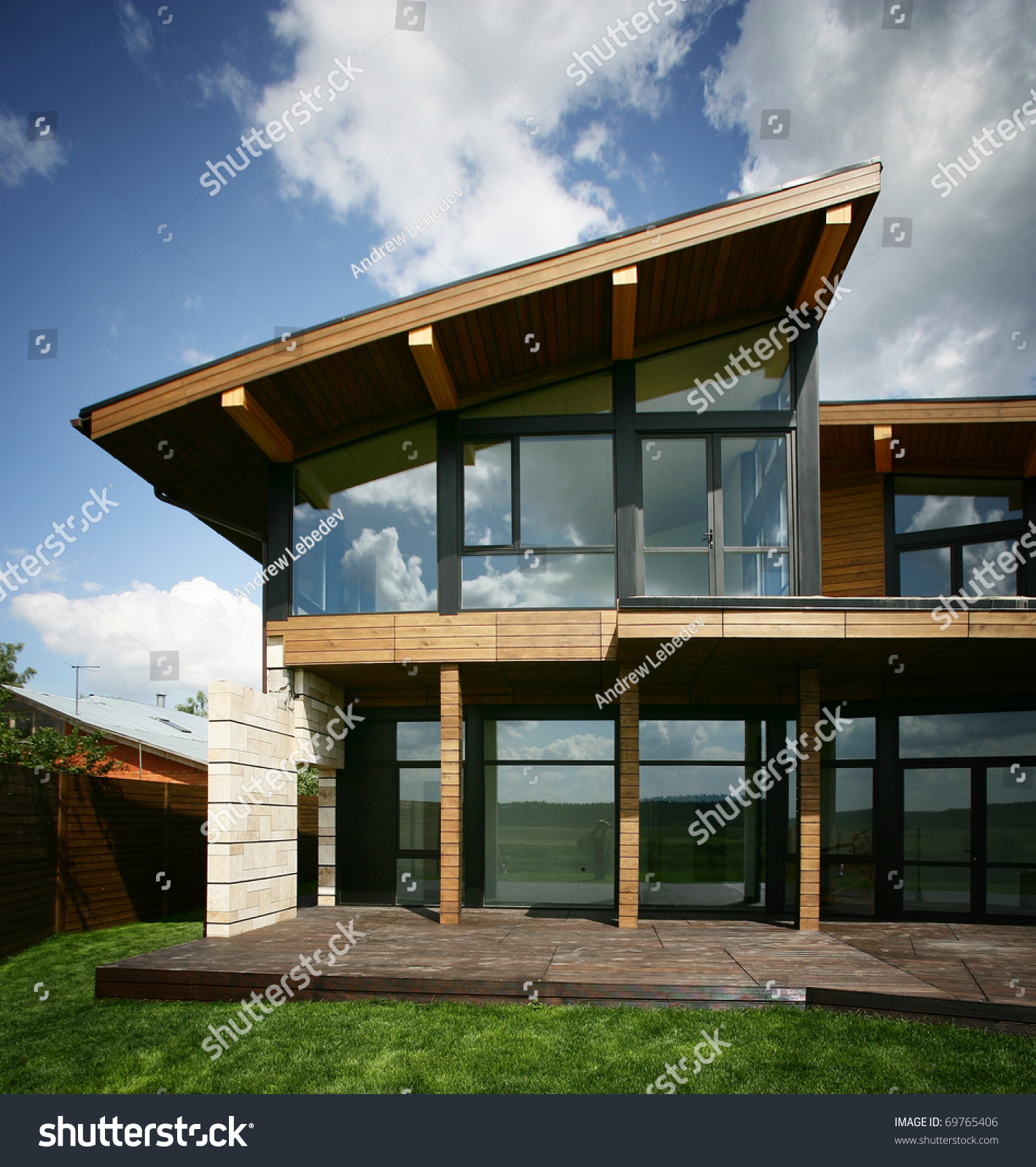 Home Design Ideas Architecture: Stylish Design House Big Glass Windows Stock Photo