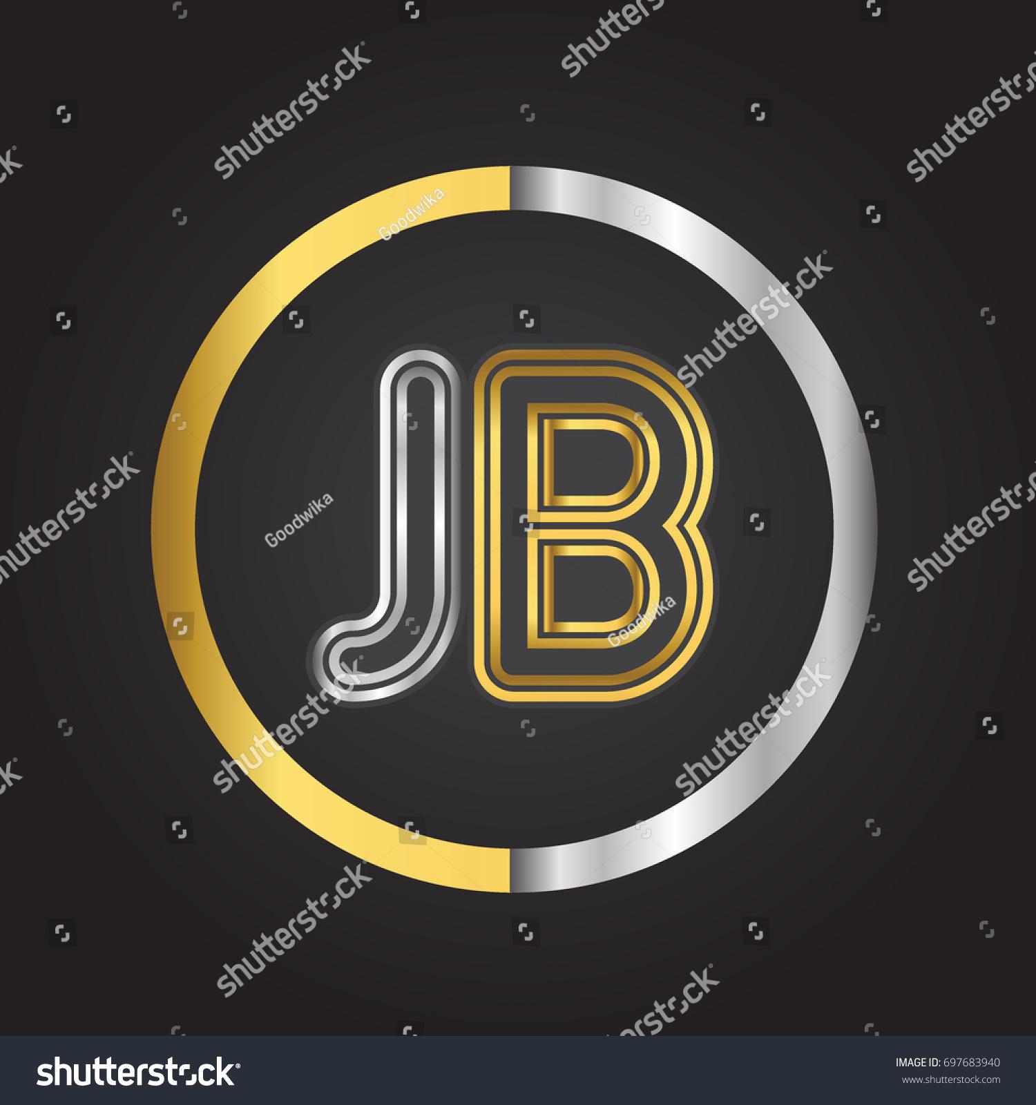 jb letter logo circle gold silver stock vector 697683940