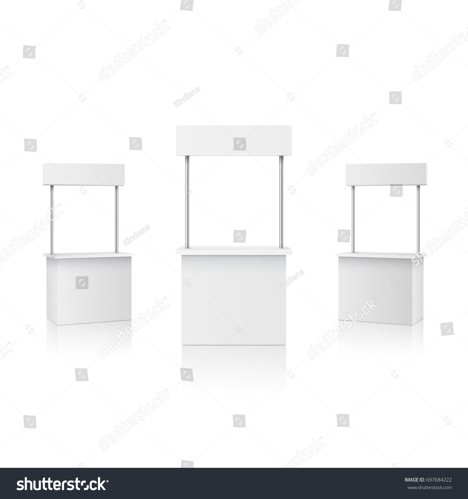Exhibition Stall Vector : Stall blank information promo booth isolated stock vector