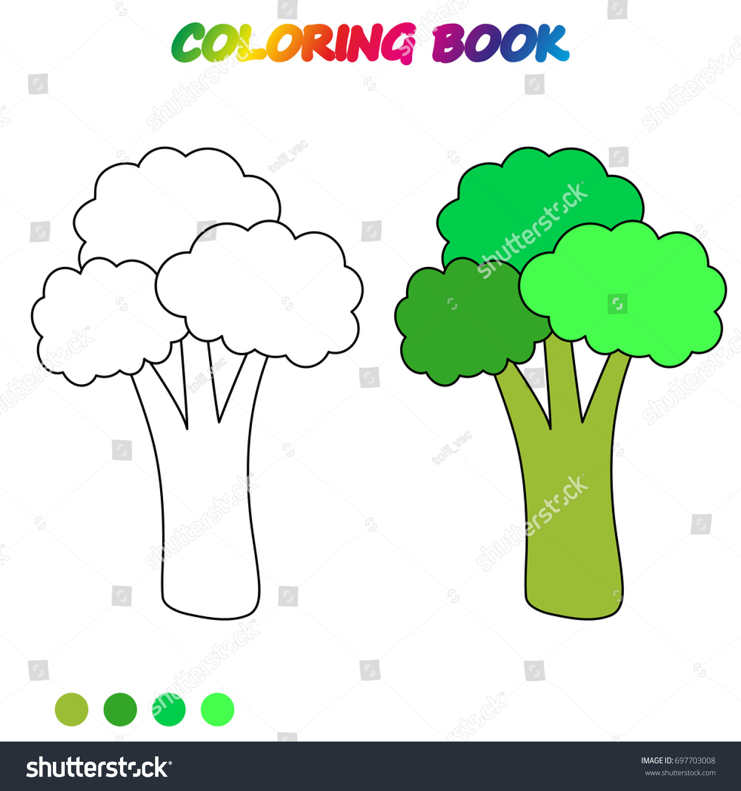 Broccoli Coloring Book Coloring Page Educate Stock Vector (Royalty ...
