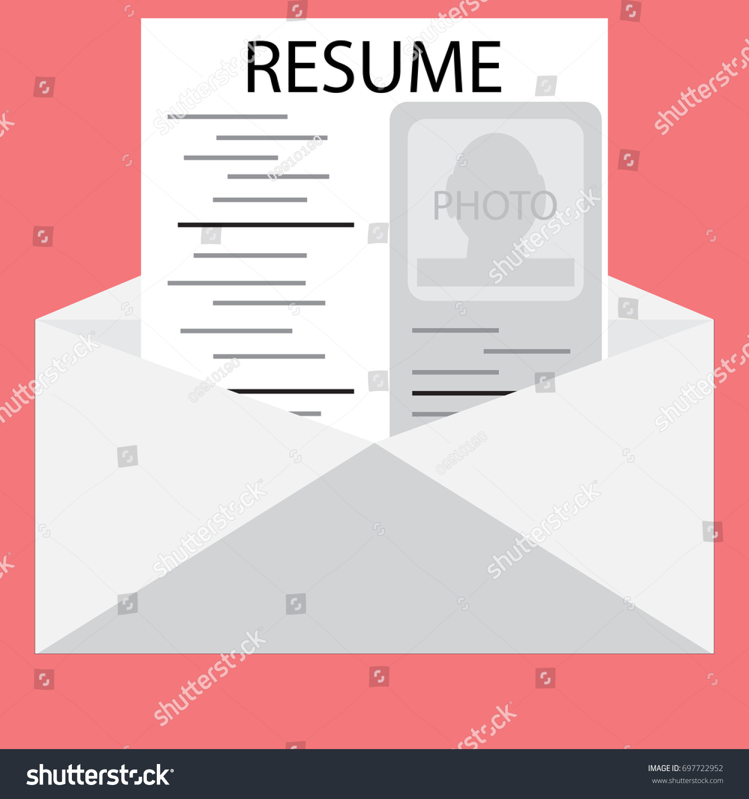 Templates Resume Envelope Invite Job Interview Stock Illustration
