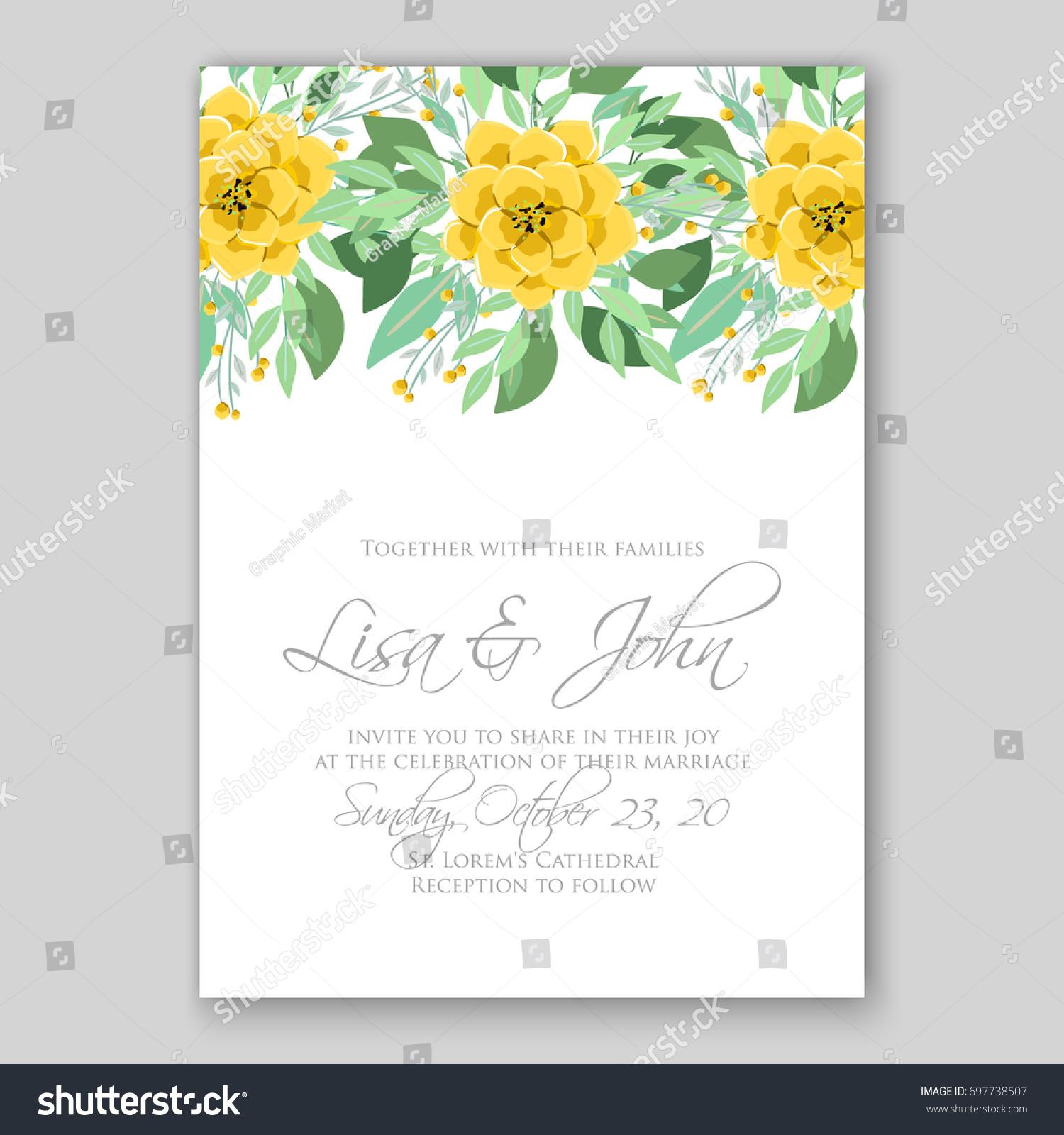 Poppy anemone peony wedding invitation template stock vector poppy and anemone peony wedding invitation template card stopboris Choice Image
