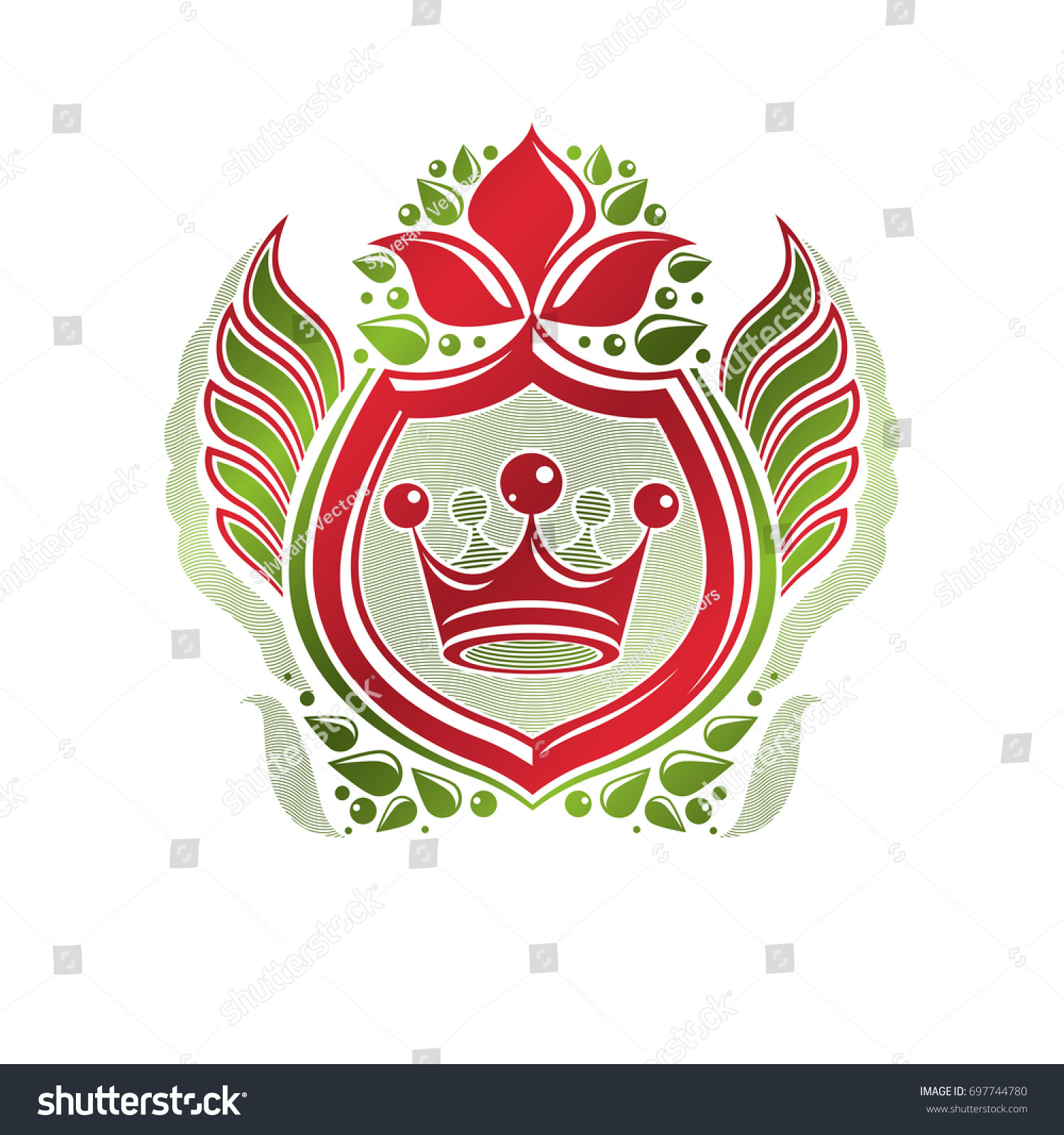 Vintage heraldic insignia made with monarch crown and lily flower vintage heraldic insignia made with monarch crown and lily flower royal symbol eco friendly product symbol king quality theme illustration izmirmasajfo