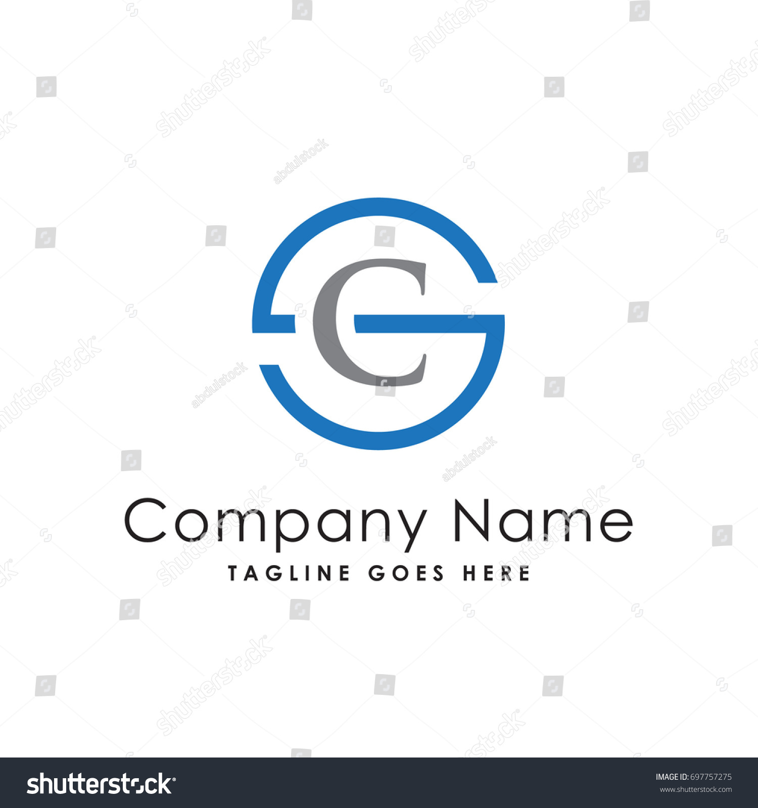 circle letter s c logo template