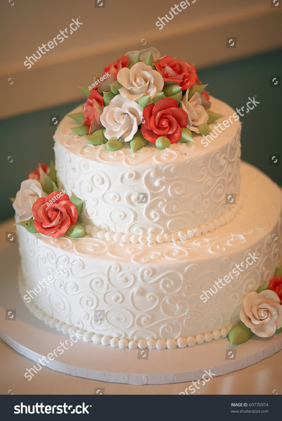 pictures of orange and green wedding cakes white wedding cake orange green flowers stock photo 18416