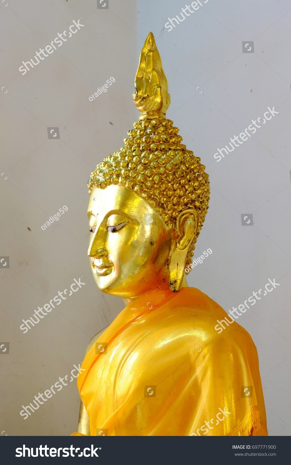 Ancient Golden Buddha Temple White Wall Stock Photo (Royalty Free ...