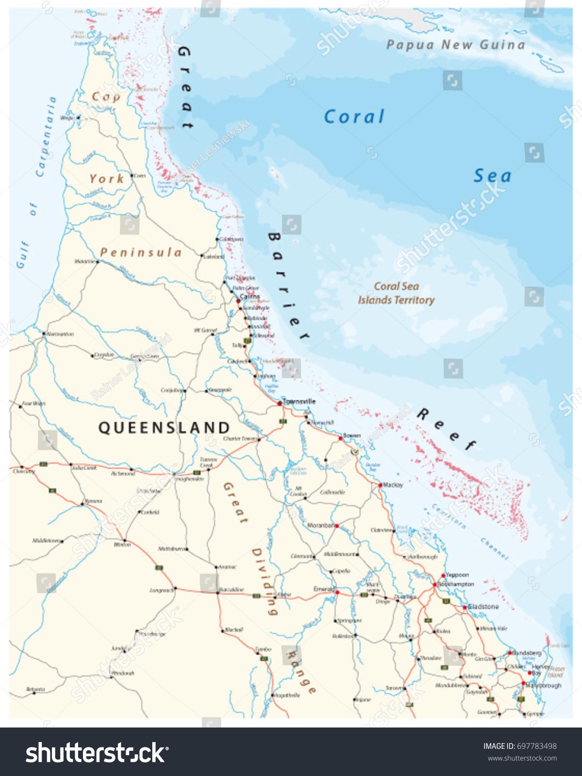 Road Map Cap York Peninsula Great Stock Vector - Detailed map of queensland australia