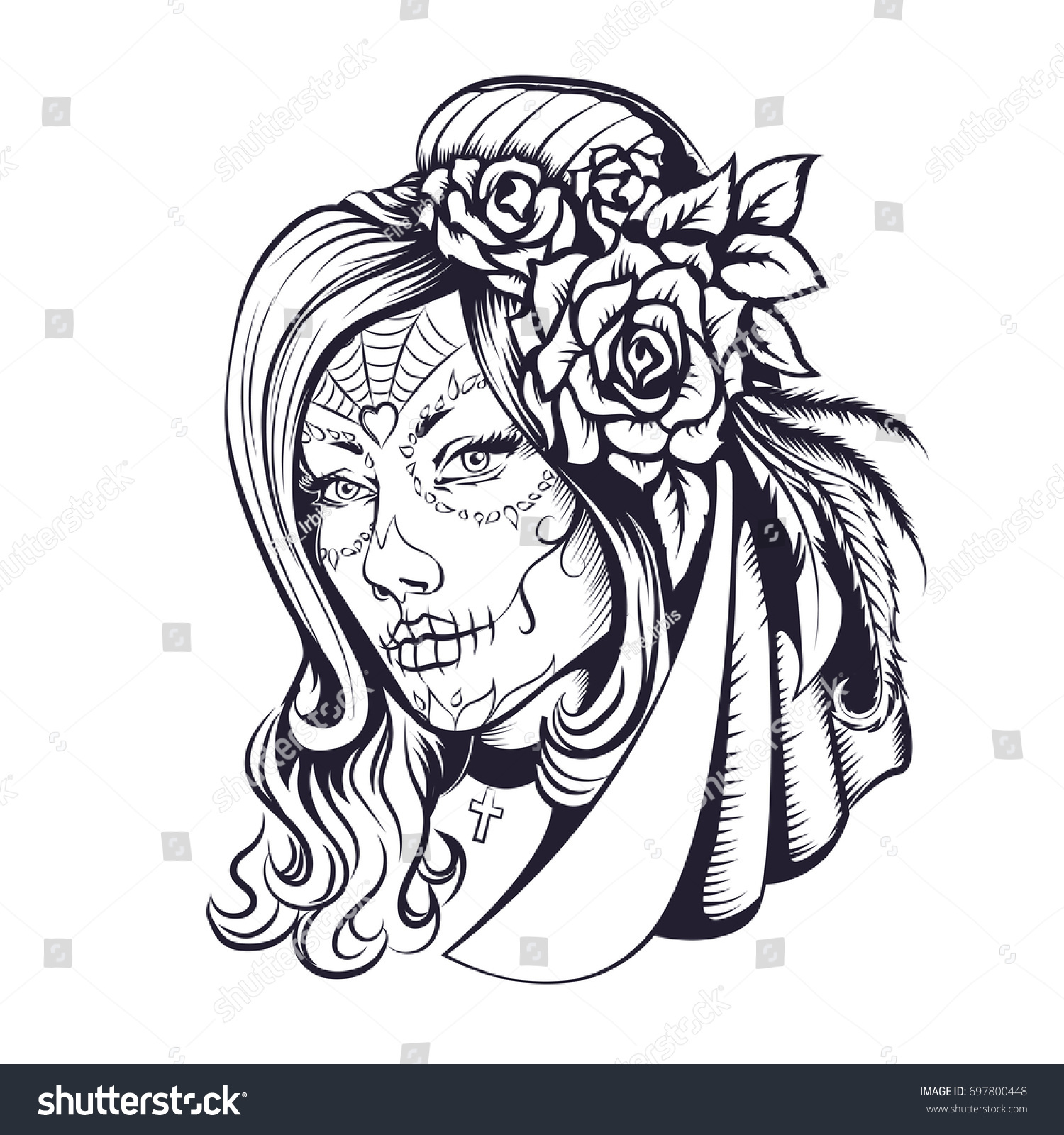Day Dead Makeup Girl Flowers Hair Stock Vector 697800448
