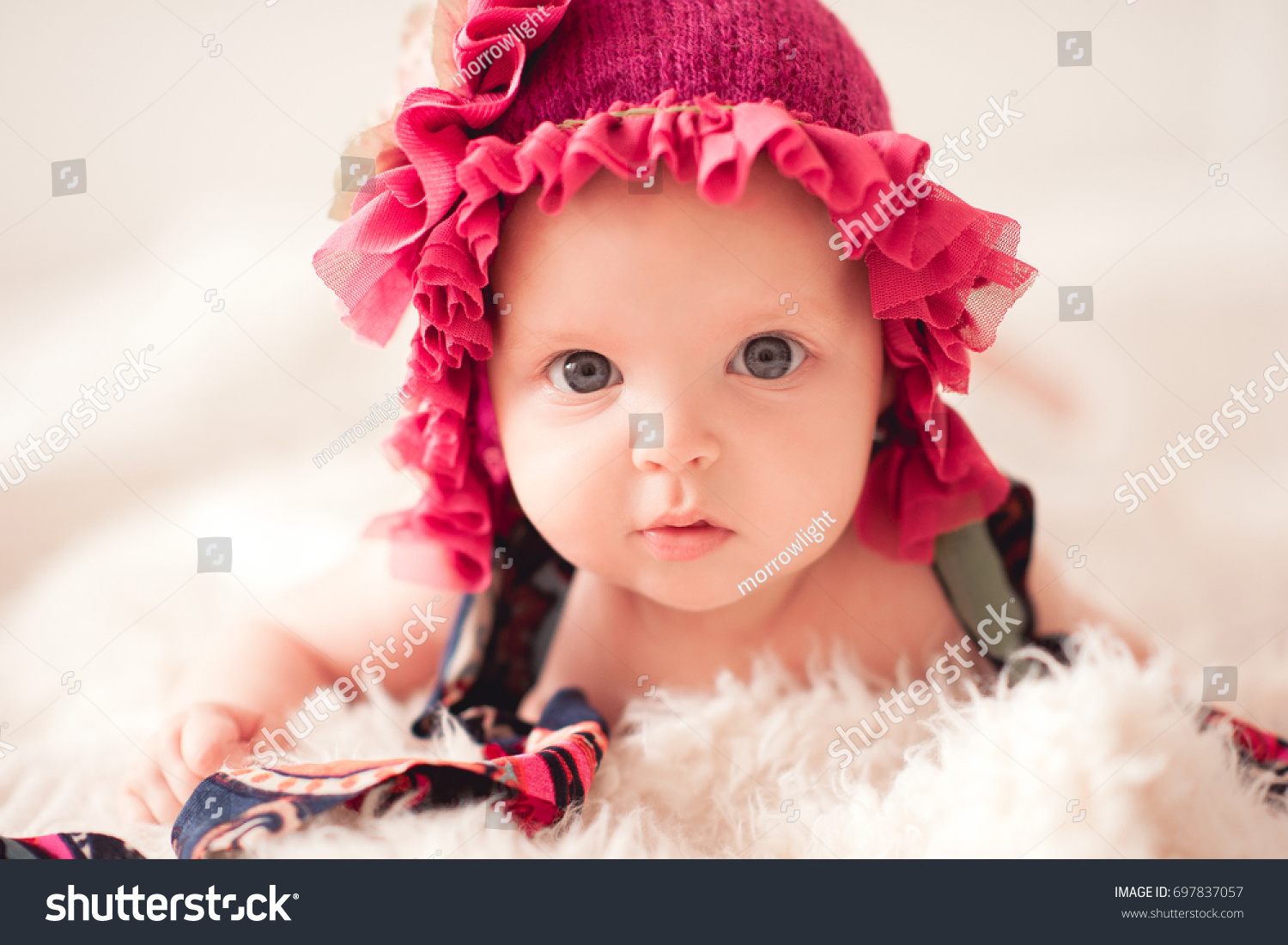 pretty baby girl 23 months old stock photo (safe to use) 697837057