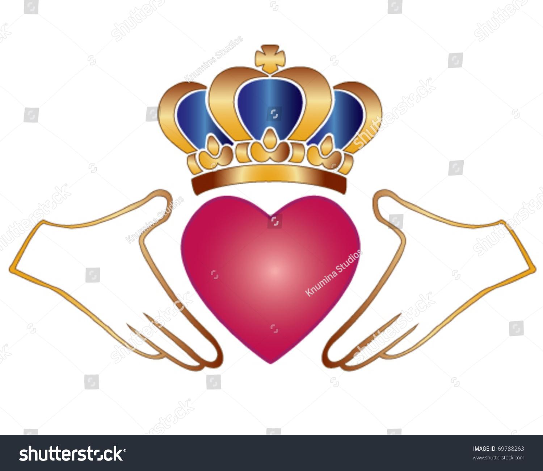 Vector Claddagh Chladaigh Irish Symbol Love Stock Vector Royalty Free 69788263