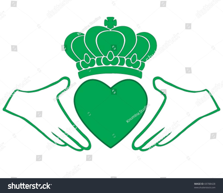 Vector Green Irish Claddagh Symbol Love Stock Vector 69788428