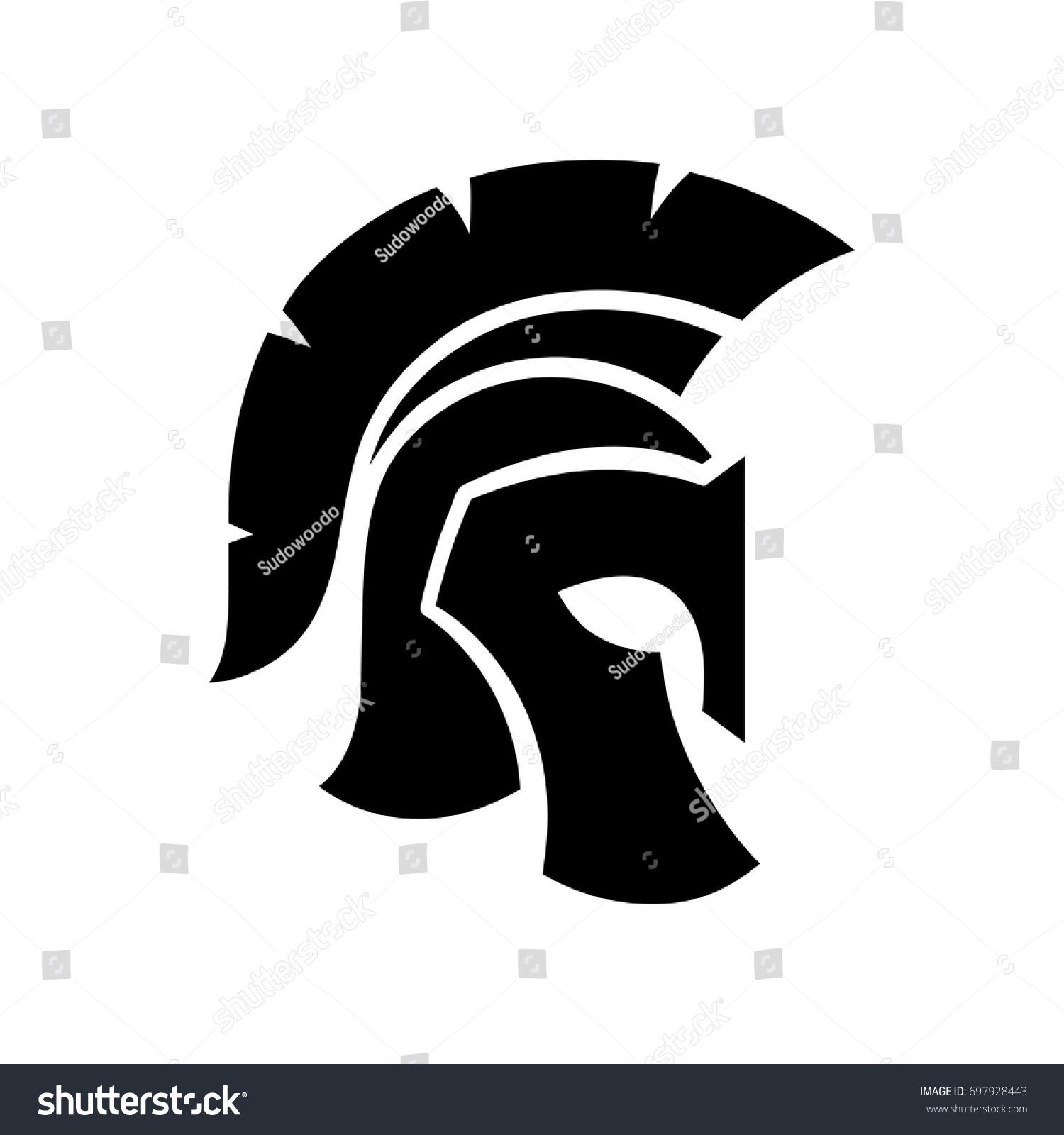 Gladiator Helmet Silhouette Icon Greek Roman Stock Vector Royalty