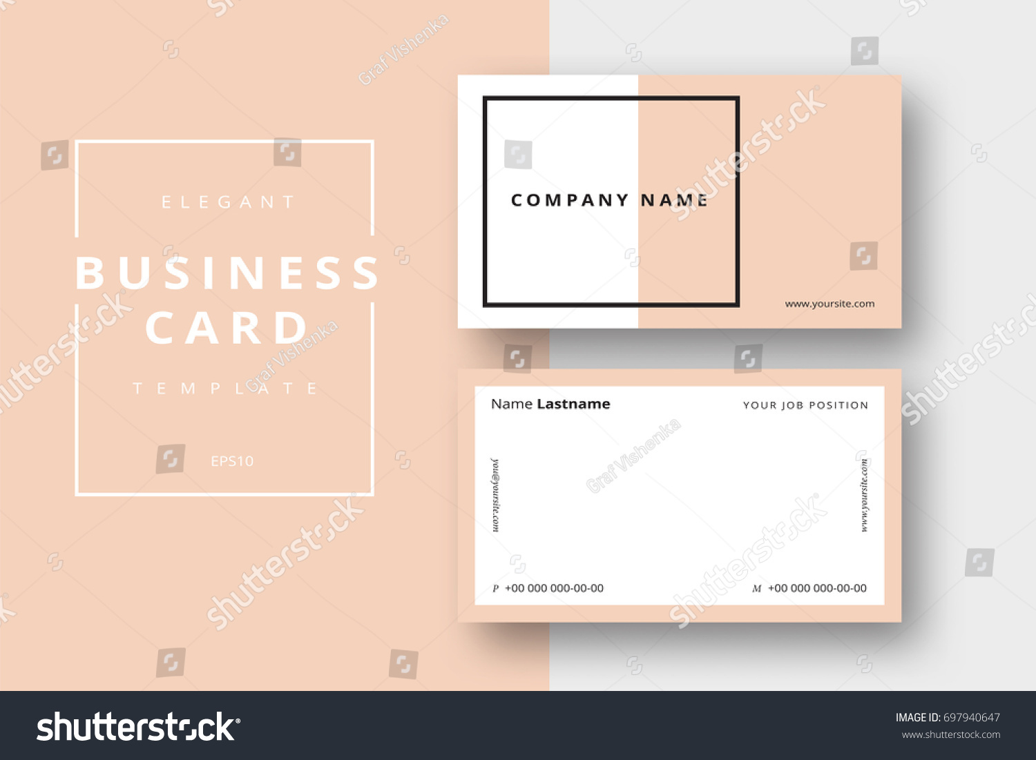Trendy Minimal Abstract Business Card Templates Stock Vector