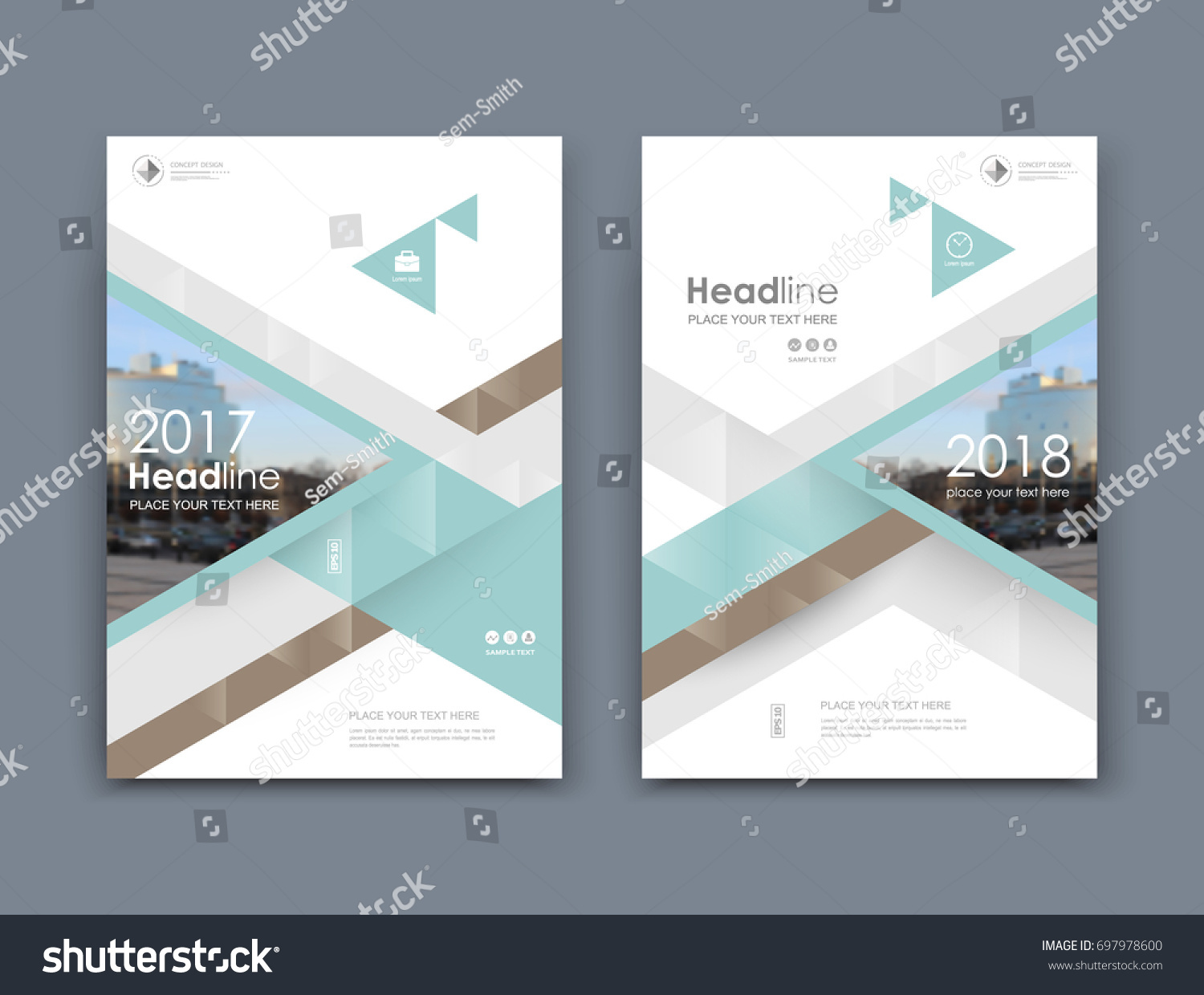 White Business Card Style A4 Brochure Stock Vector 697978600 ...
