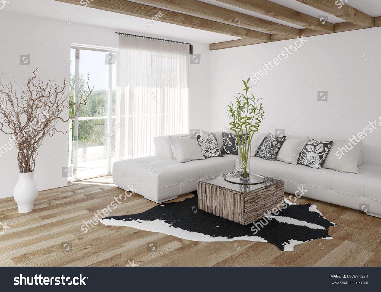 Modern Airy Bright Stylish Living Room Stock Illustration 697994323 ...