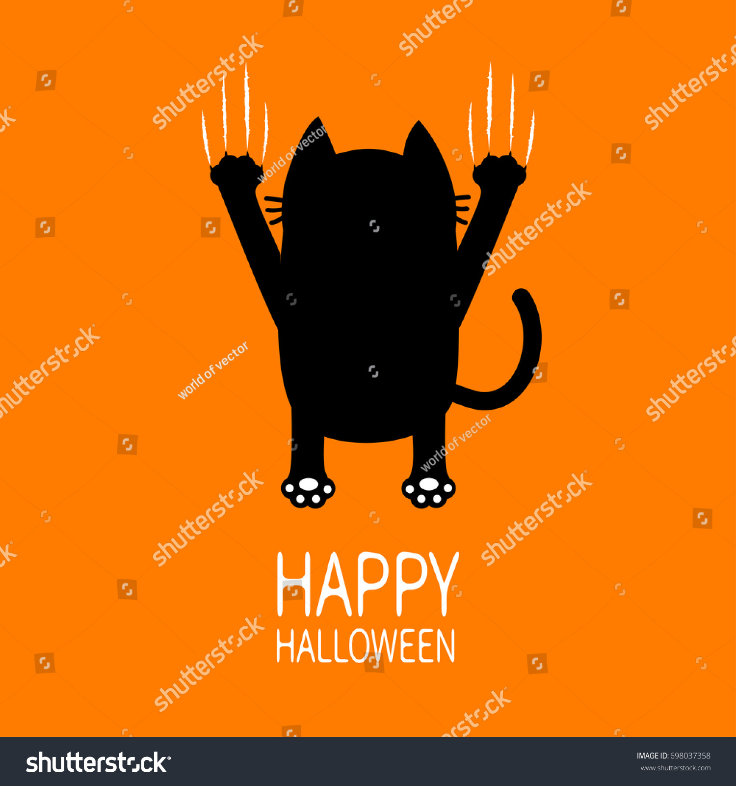 Happy Halloween Greeting Card Cartoon Black Stock Vector Royalty
