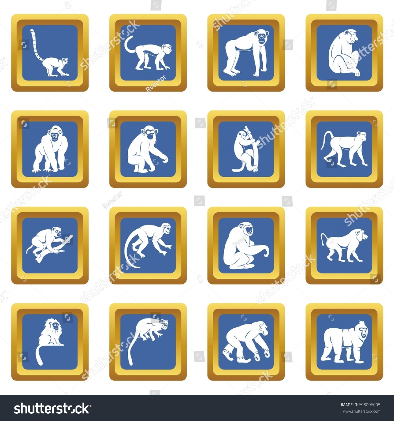 Monkey Types Icons Set Blue Color Stock Vector 698096005 ...