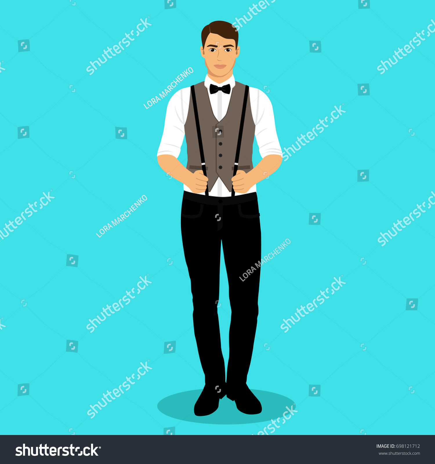 Man Suspenders Groom Clothing Wedding Mens Stock Vector 698121712 ...
