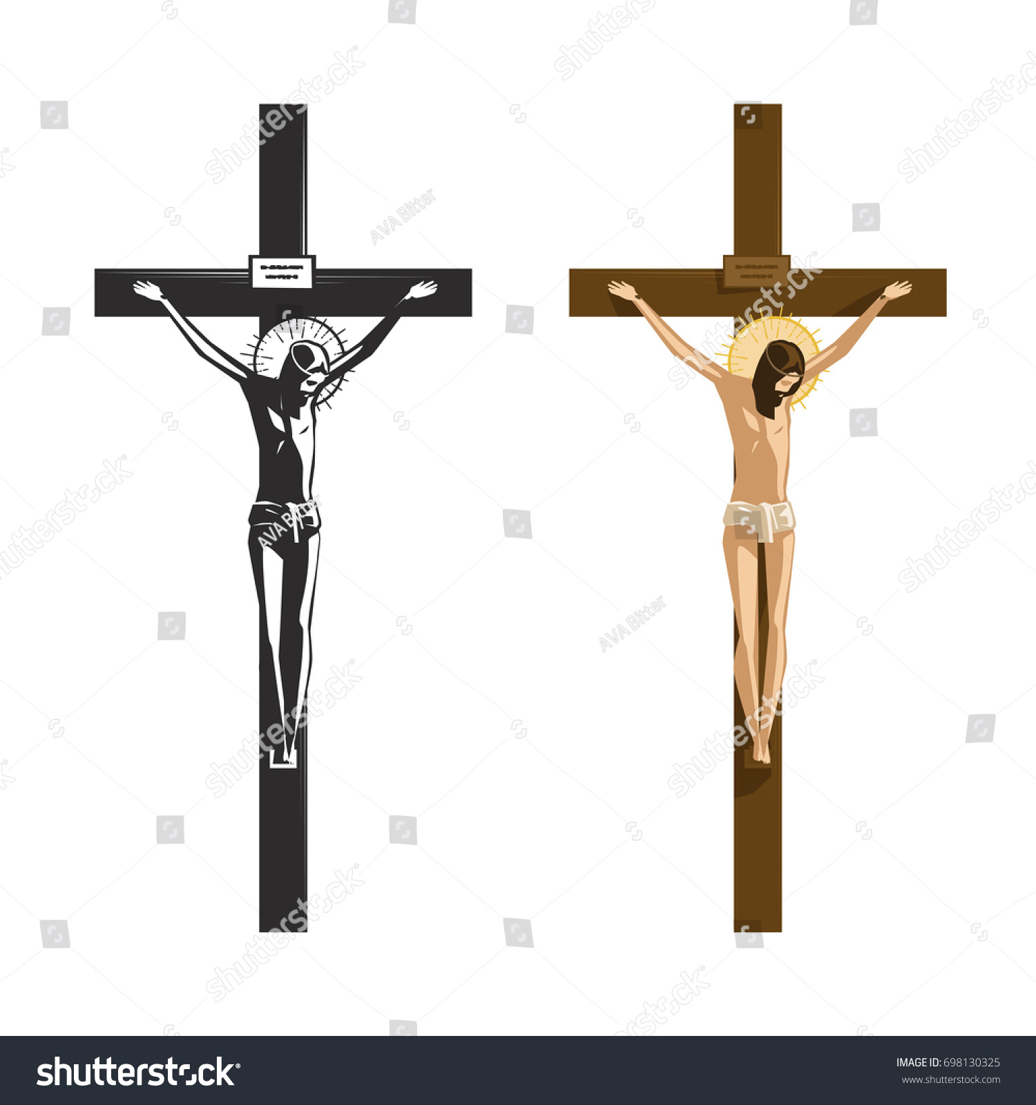 Crucifixion Jesus Christ Religion Christianity Symbol Stock Vector