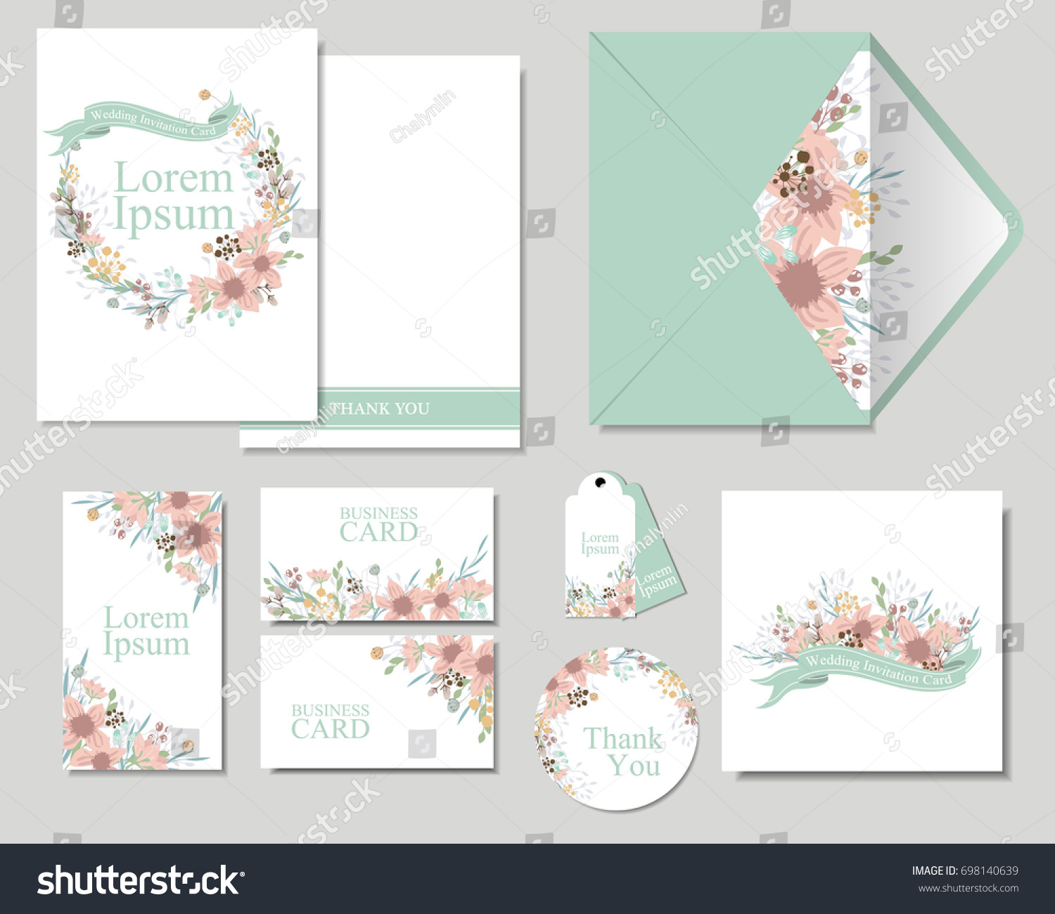 Set Colorful Flowers Greeting Wedding Invitation Stock Vector ...
