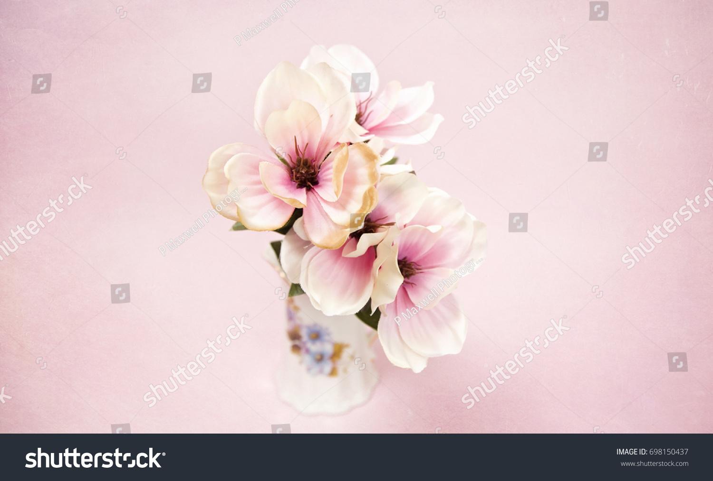 Beautiful White Pink Silk Flowers On Stock Photo Royalty Free