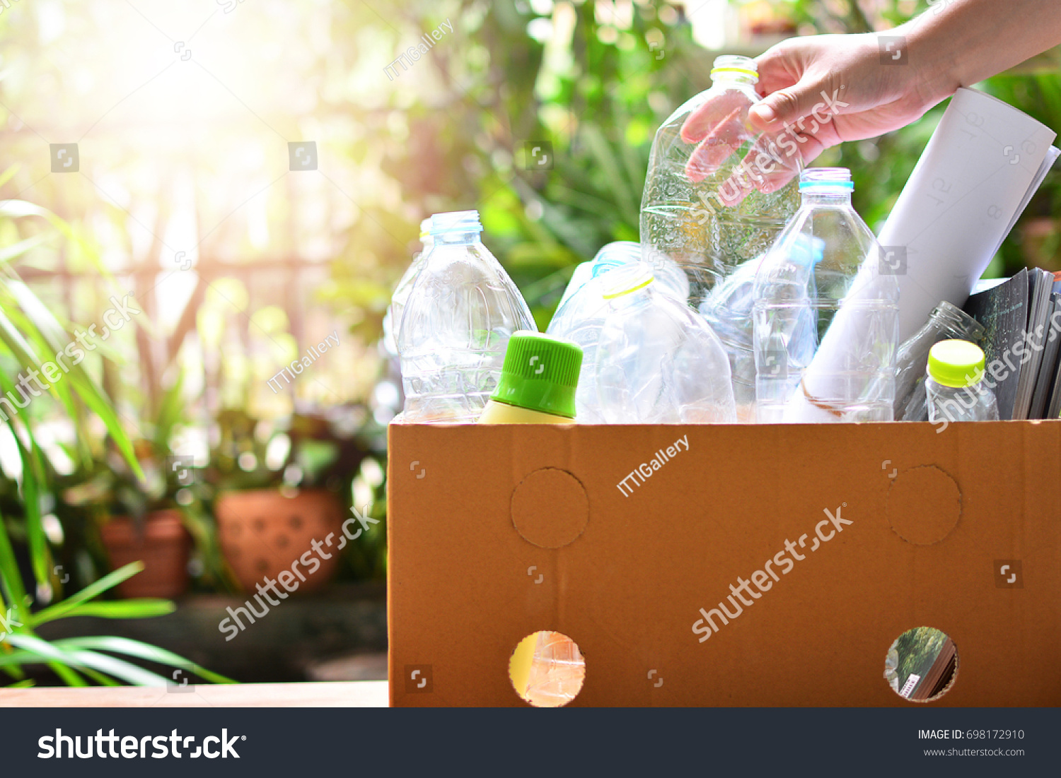 plastic bottle garbage for recycling concept reuse  #698172910