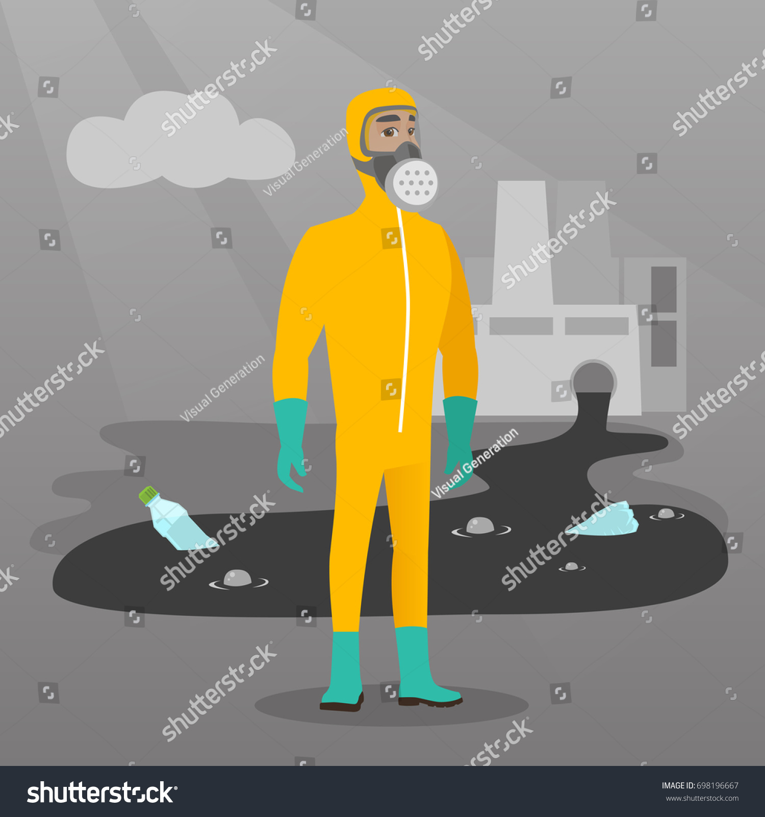 Caucasian Man Gas Mask Radiation Protective Stock Vector Royalty Nuclear Power Plant Layout Design In And Suit Standing On The Background Of