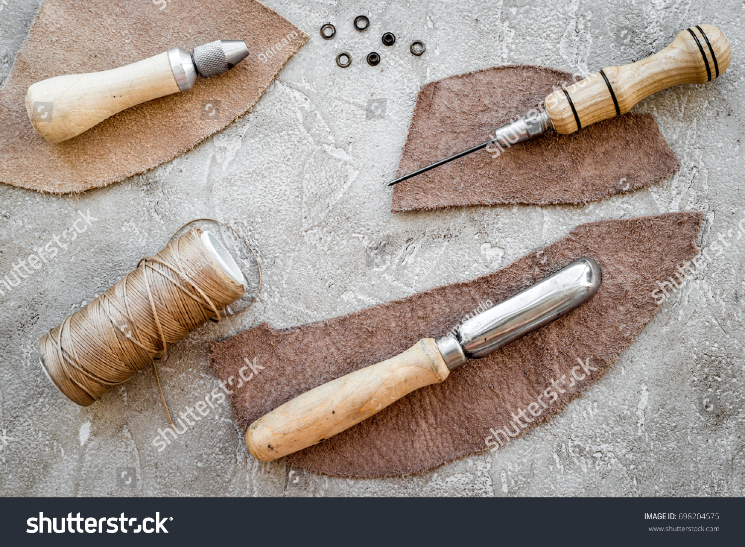 Leather Craft Tools On Grey Stone Background Top View Ez Canvas