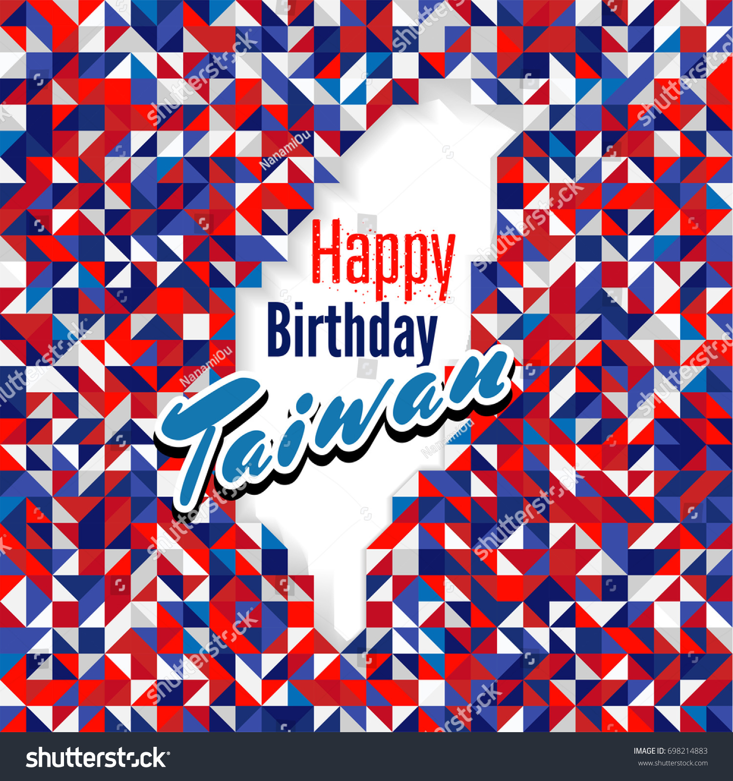 Happy Birthday Day Taiwan Red Blue Stock Vector