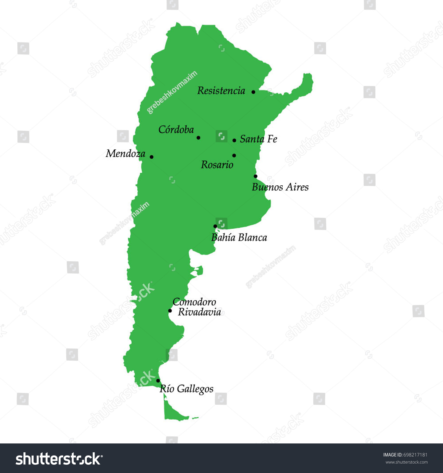 major cities in argentina on a map Map Argentina Main Cities Stock Vector Royalty Free 698217181 major cities in argentina on a map