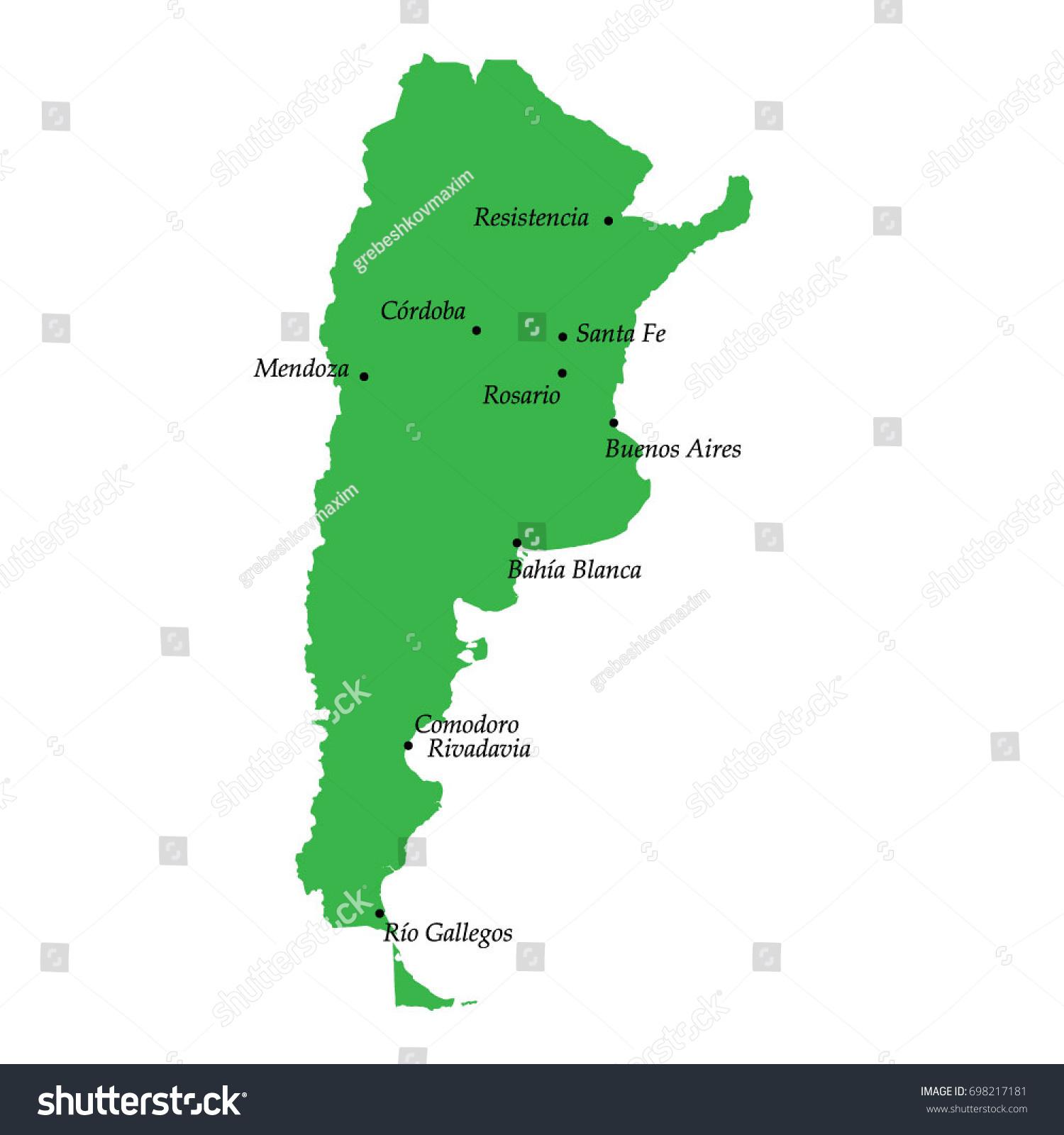 argentina major cities map Map Argentina Main Cities Stock Vector Royalty Free 698217181 argentina major cities map