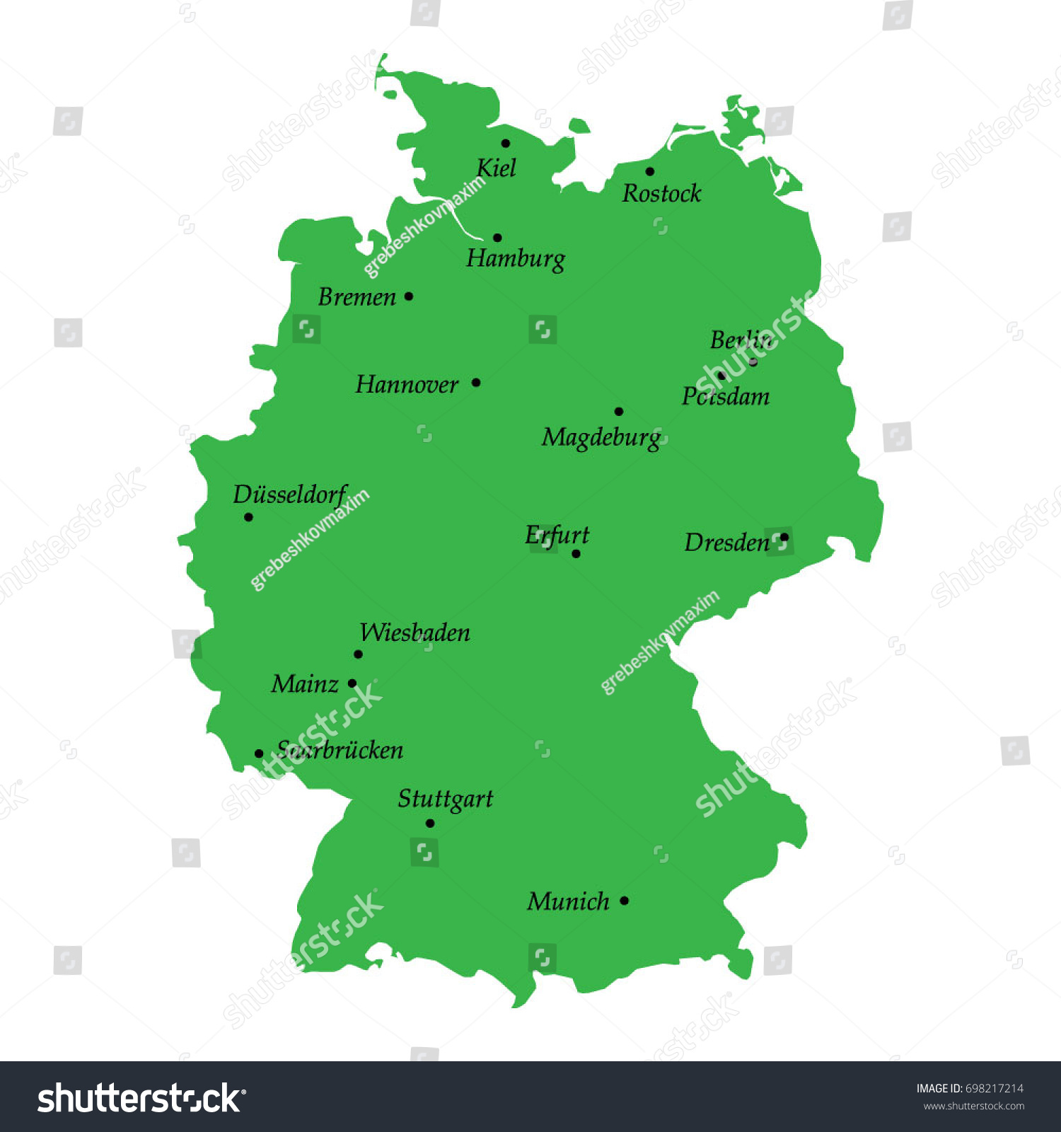 Map Germany Main Cities Stock Vector Shutterstock - Germany map main cities
