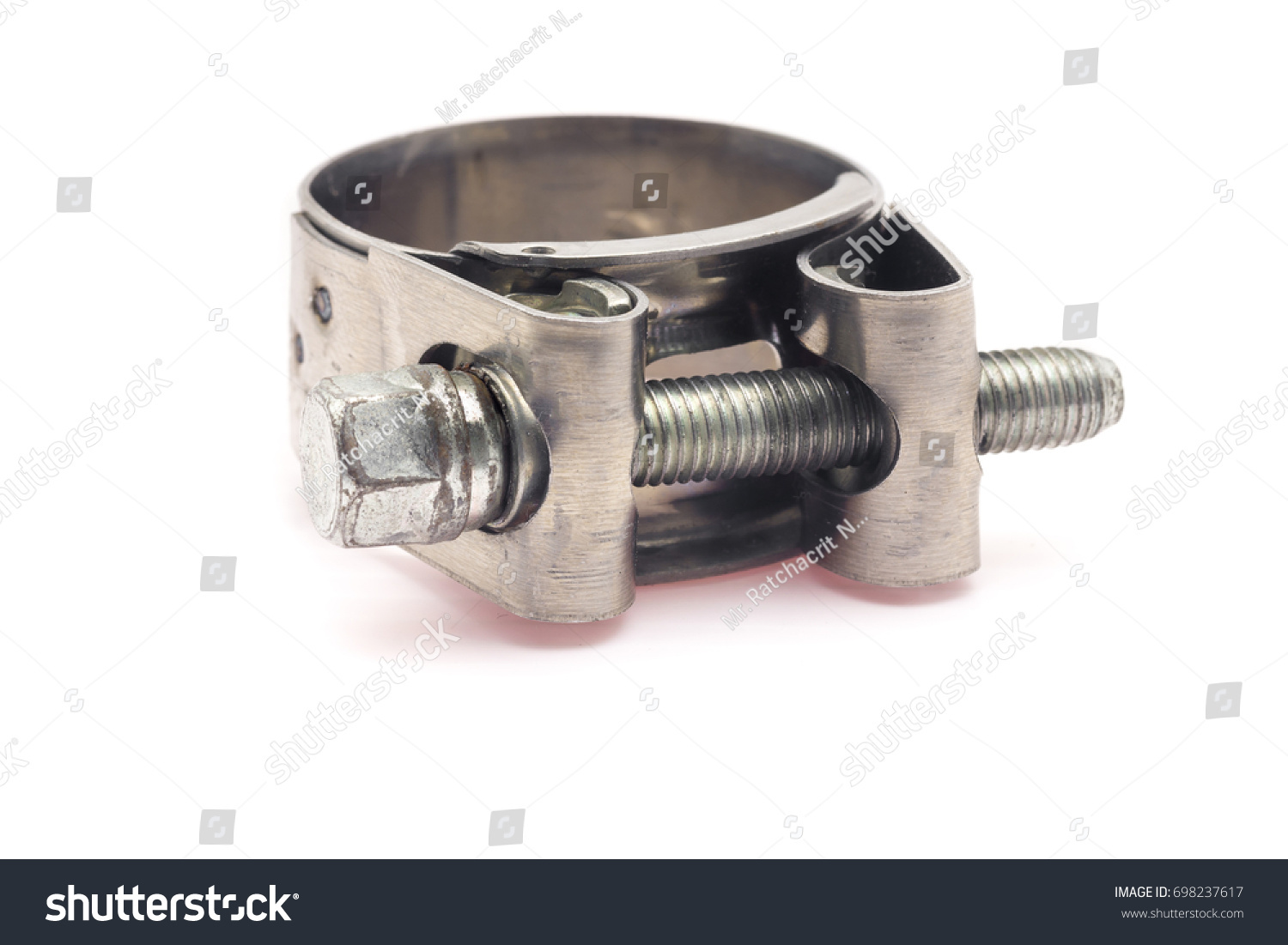 Close up a big hose cl& on white background.  sc 1 st  Shutterstock & Close Big Hose Clamp On White Stock Photo (Royalty Free) 698237617 ...