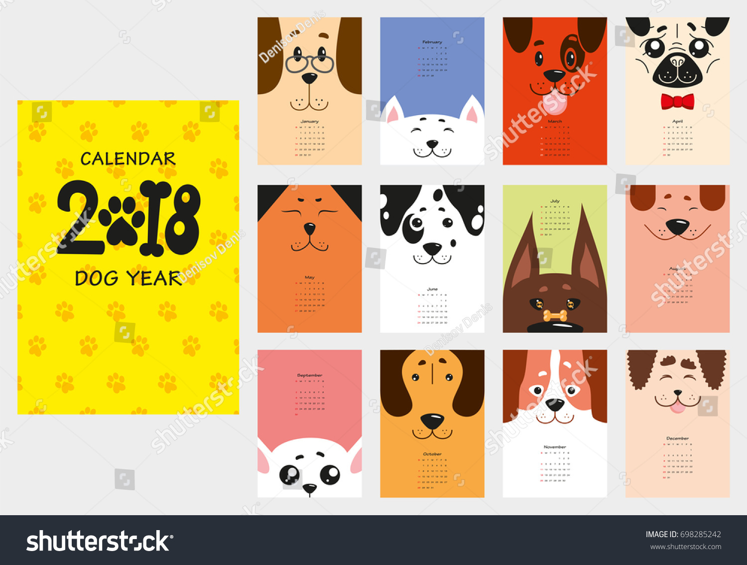 Drawing Calendar 2018 : Monthly calendar funny dogs puppies stock vector