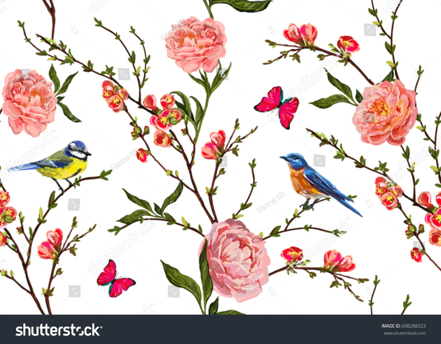 Seamless Vector Floral Pattern Background Hand Stock Vector