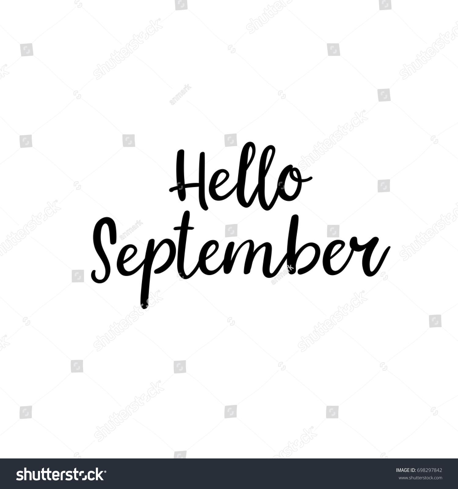 Hello September Calligraphy Inscription Autumn Greeting Stock ...