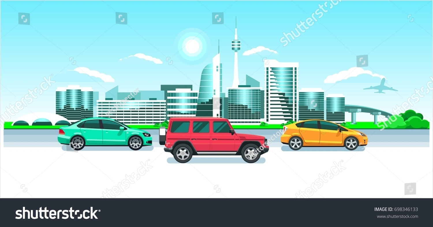 c5c0963a3d Cars On City Panorama Seaside Sunrise Stock Vector (Royalty Free ...