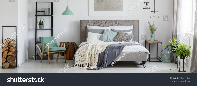 Cozy Mint Grey Bedroom Plants Wood Stock Photo (Edit Now) 698347822 ...