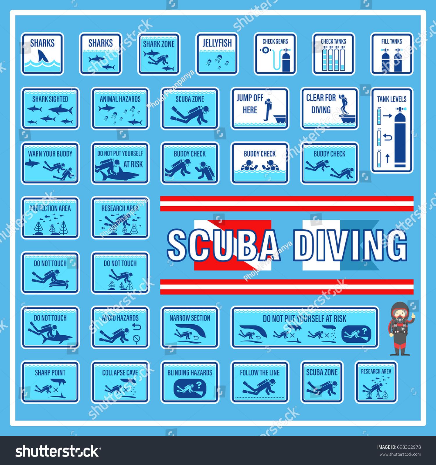 Set Signs Symbols Scuba Diving Signs Stock Vector Royalty Free