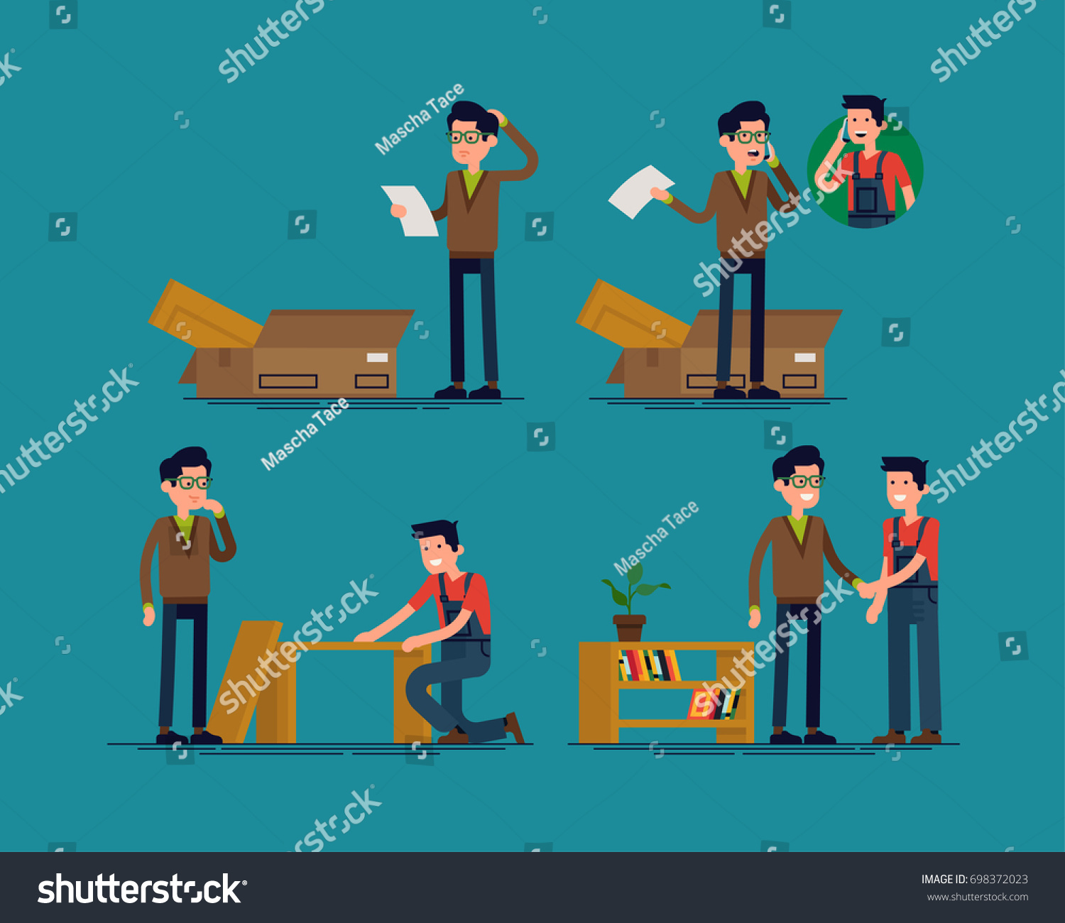Superb Furniture Assembly Help Vector Concept Illustration With Man Confused By  Assembly Instruction And Receiving Help From