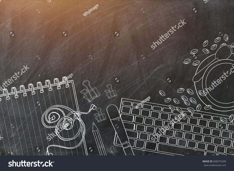Chalk Drawing On Blackboardtop View Office Stock Illustration 698375209    Shutterstock