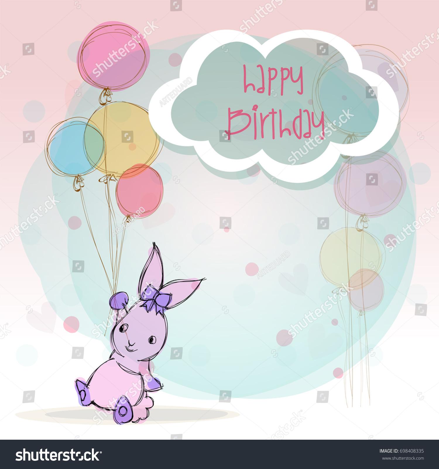 Beautiful Birthday Card Cartoon Animal Balloons Stock Vector