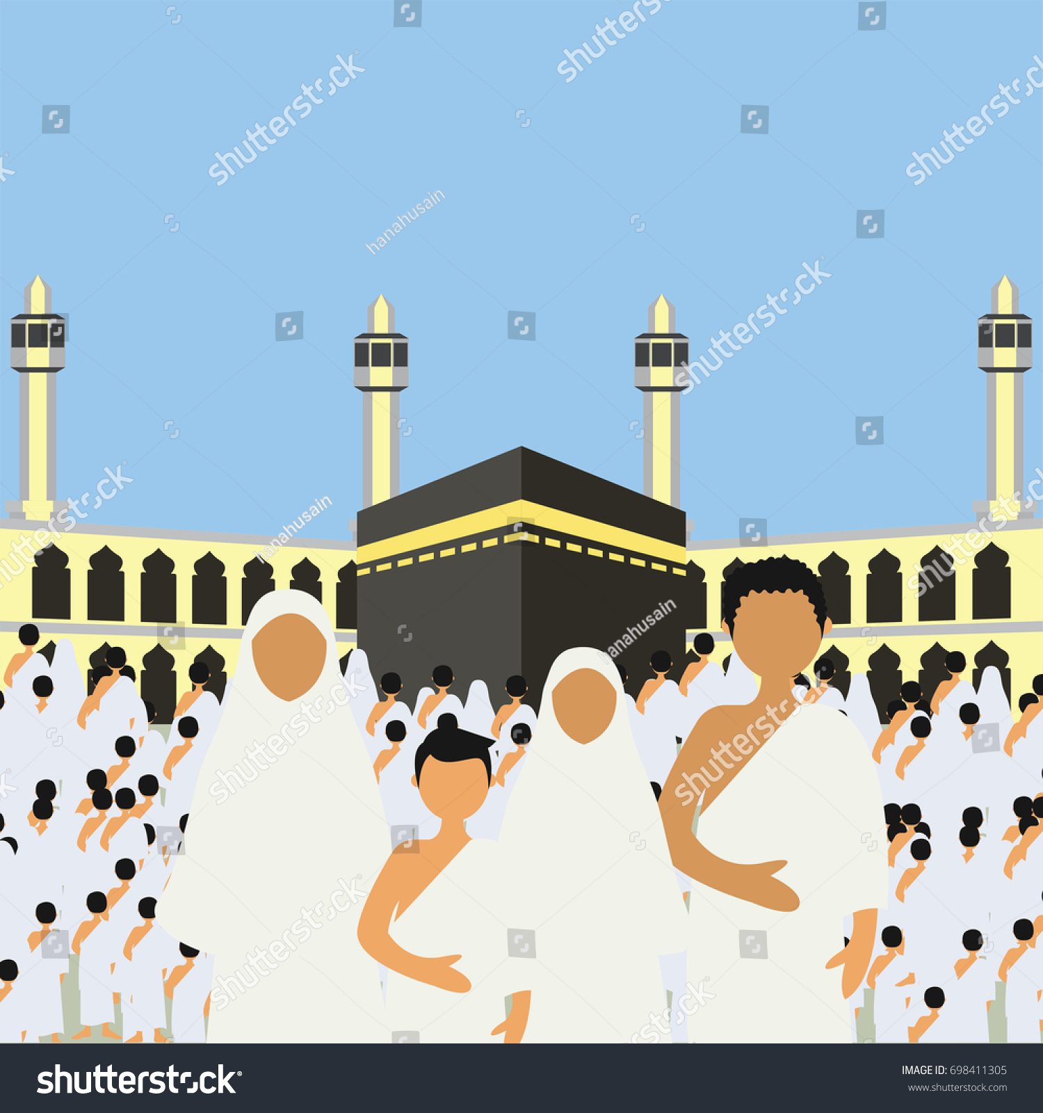 Muslim Pilgrims Perform Hajj Umrah Pilgrimage Stock Vector ...