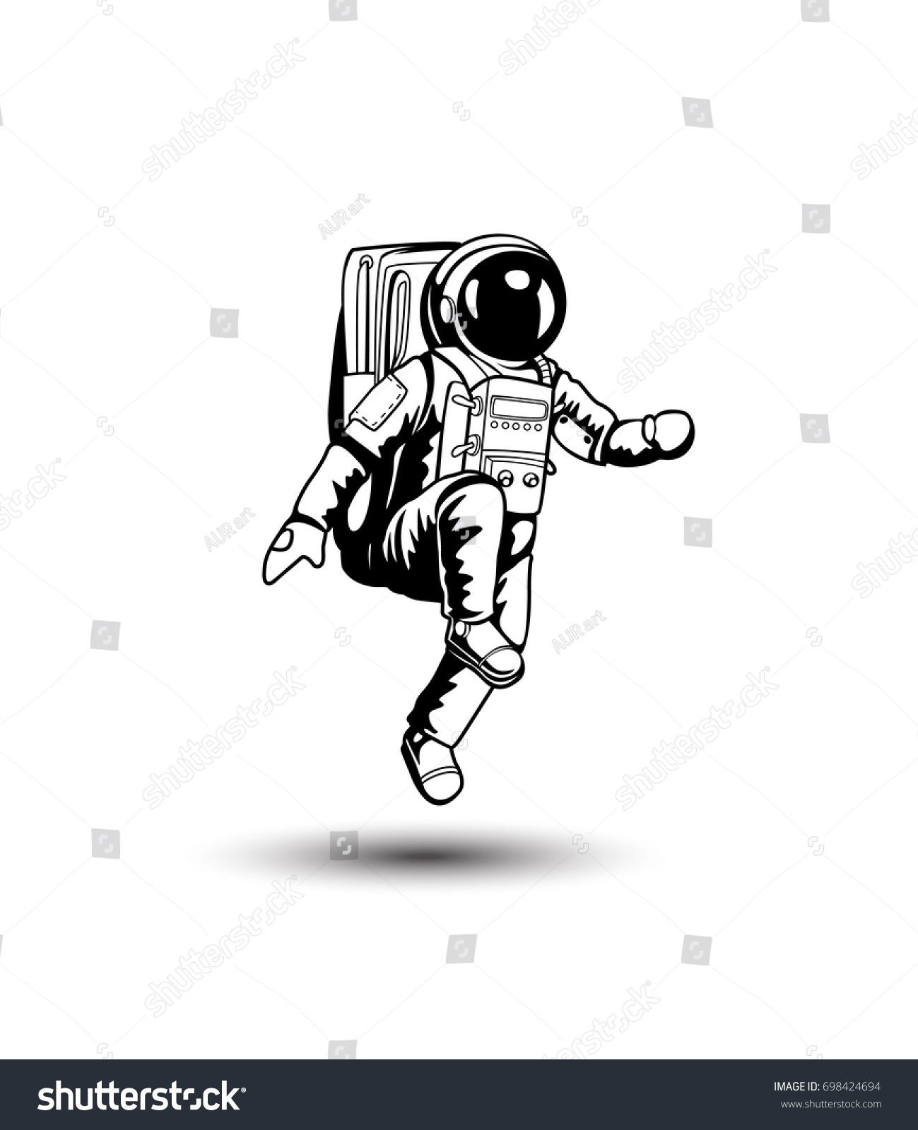 Astronaut Space Icon White Background Spacesuit Stock ...