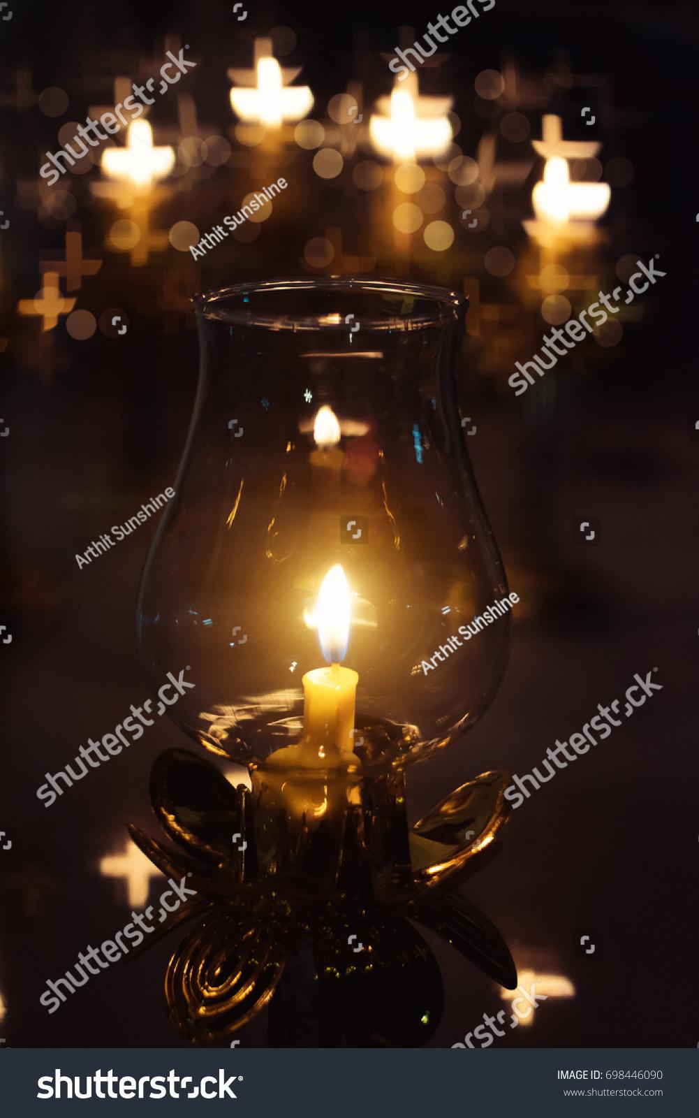 Candle Light Night Christian Symbol Bokeh Stock Illustration