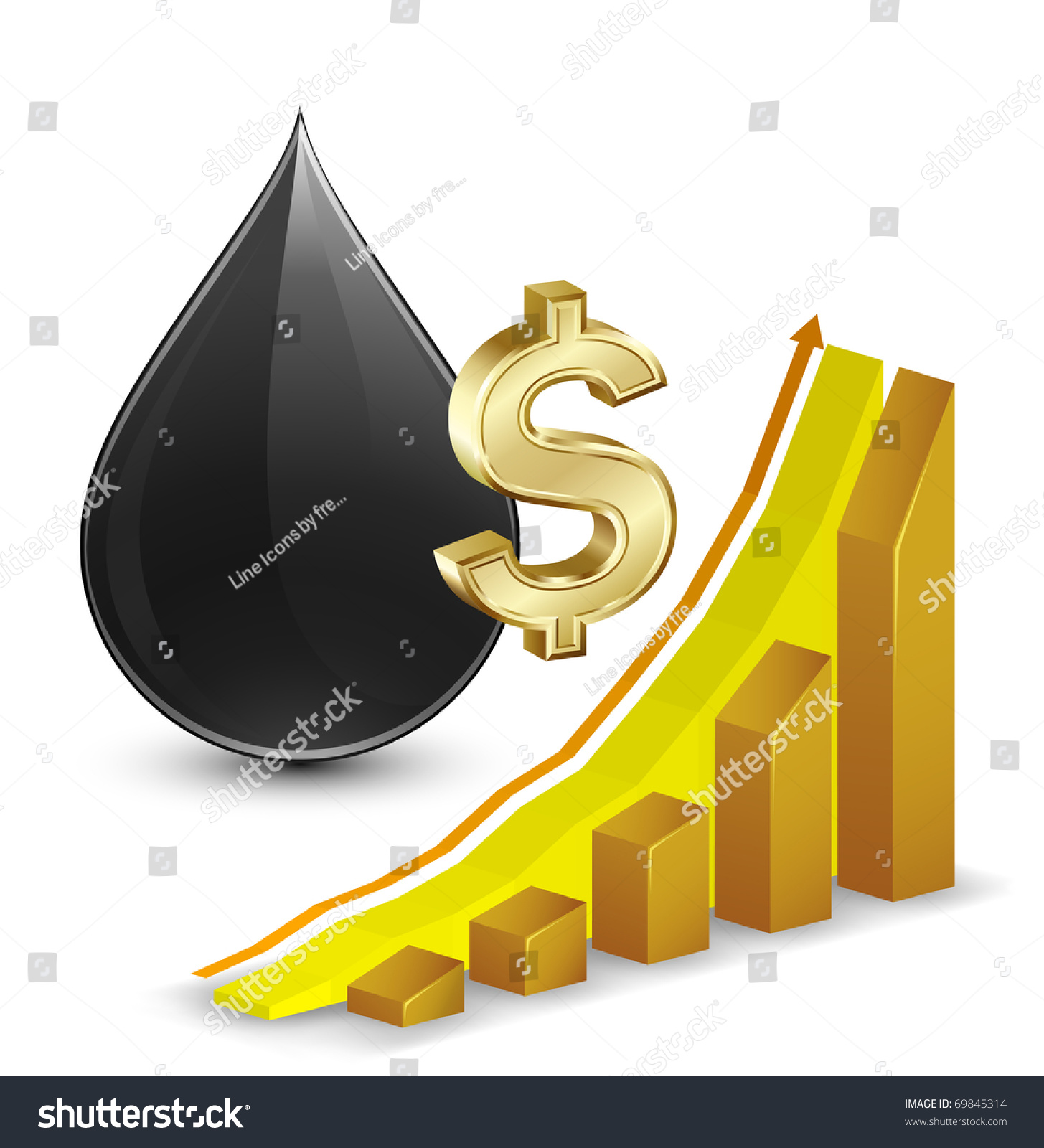 Crude oil price growth chart crude stock vector 69845314 crude oil price growth chart with crude oil and dollar sign on background biocorpaavc Gallery