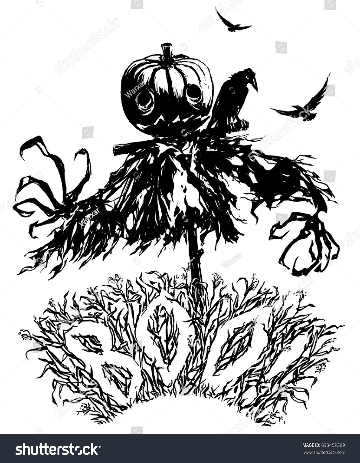 Pumpkin Jack Scarecrow Halloween Party Invitation Stock Illustration ...